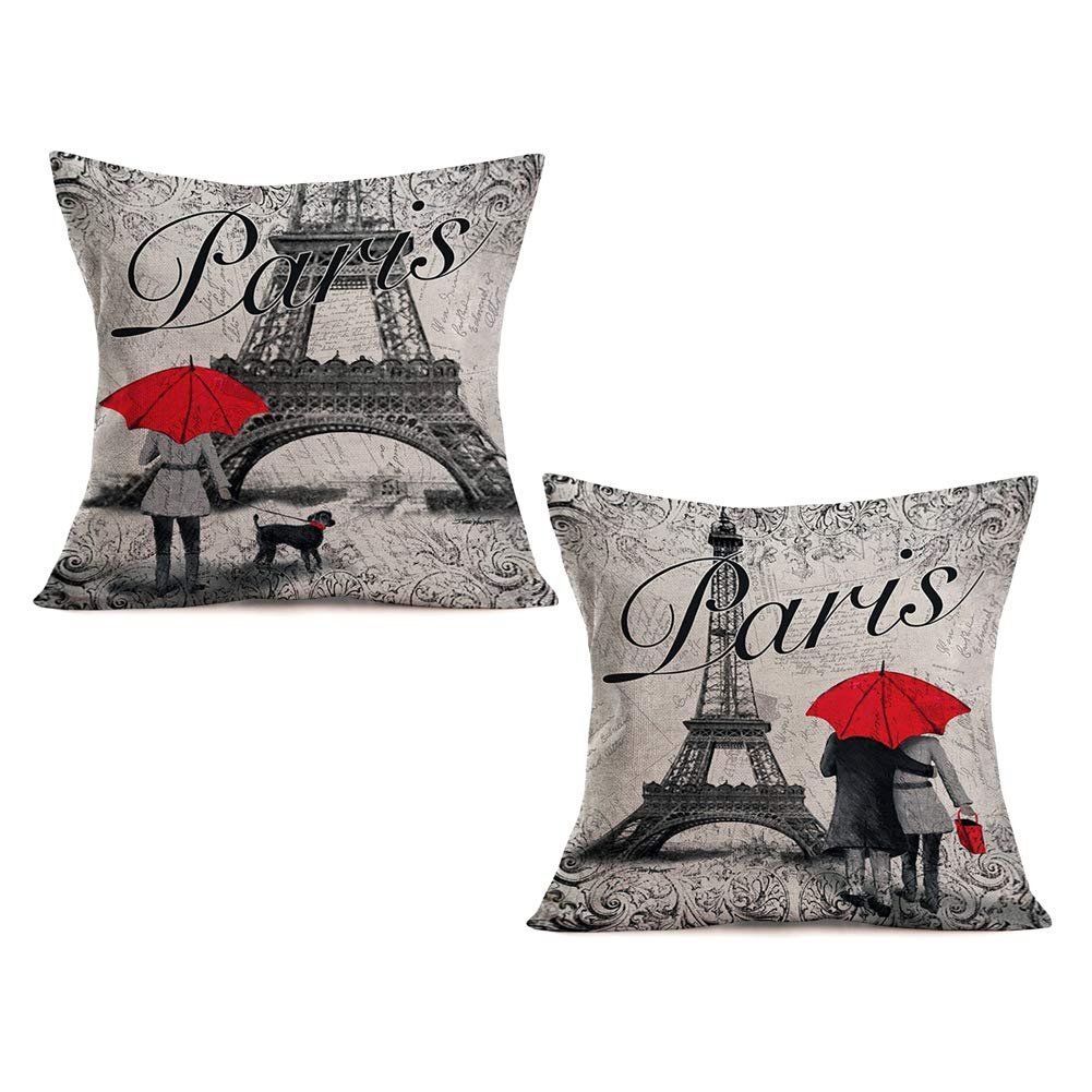 Asamour Pack of 2 Paris Love Pillow Covers Sweet Lover with Red Umbrella Dog Decorative Cotton Linen Throw Pillow Case Cushion Cover Romantic Paris Eiffel Tower Pillowcases 18''x18'',Red Gray Building