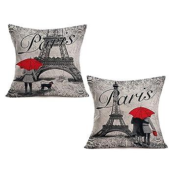 Amazon.com: Asamour - Funda de cojín de lino y algodón con ...
