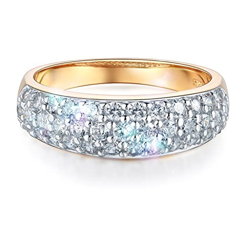 Wellingsale Ladies Solid 14k Yellow Gold Polished CZ Cubic Zirconia Pave Wedding Band