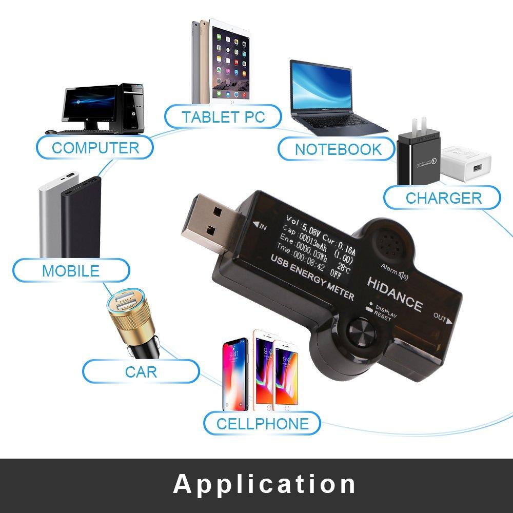 MakerHawk USB Tester Voltmeter USB Voltage Tester Current Tester USB Power Meter Multi-function Charger Capacity Voltage Current Detector 3.40-30.0V 0-5A 0.96 inch LCD Display Tester by MakerHawk (Image #3)