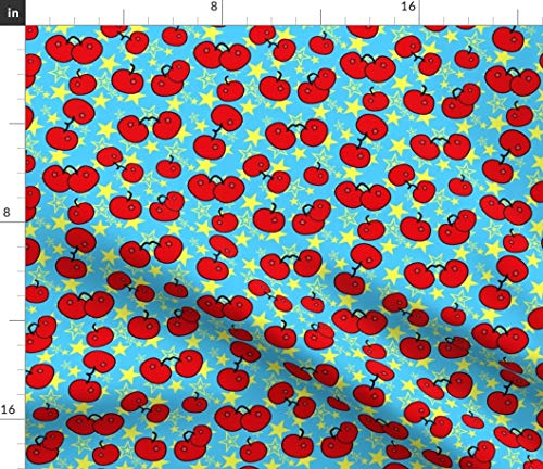 Spoonflower Cherries Fabric - Cherries Retro Fruit Red Blue Cherry Cherries Red Whimsical Holiday Cherry by Mystikel Printed on Petal Signature Cotton Fabric by The Yard