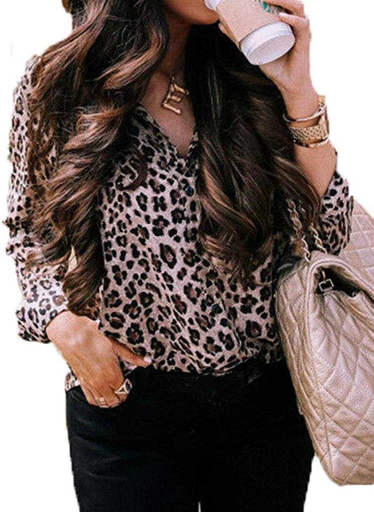 Womens Long Sleeve Leopard Print Jersey Stretchy V Neck  T-Shirt Top