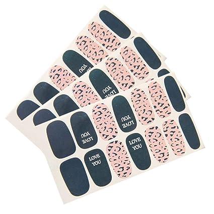 Amazon com: Qinlee Leopard Print Full Nail Art Tips Stickers