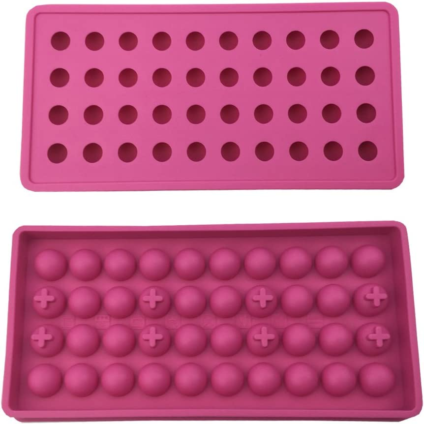 Mydio 2 Pack 40 Tray Mini Ice Ball Molds DIY Molds Tool for Candy pudding jelly milk juice Chocolate mold or Cocktails & whiskey particles,rose Red