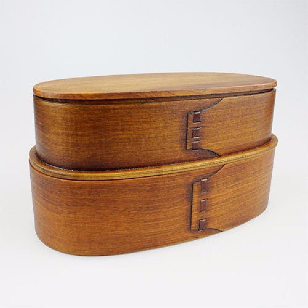 SDKKY Japanischen Stil aus Holz Mittagessenkästen, doppelte Lunch-Boxen, Mittagessen Boxen für Studenten, Frischhaltung Kisten aus Massivholz,B