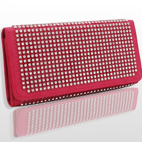 HOT! Crystal and Rhinestone Encrusted Double Sided Wallet w/Snap Closure by Jersey Bling (pink), Bags Central
