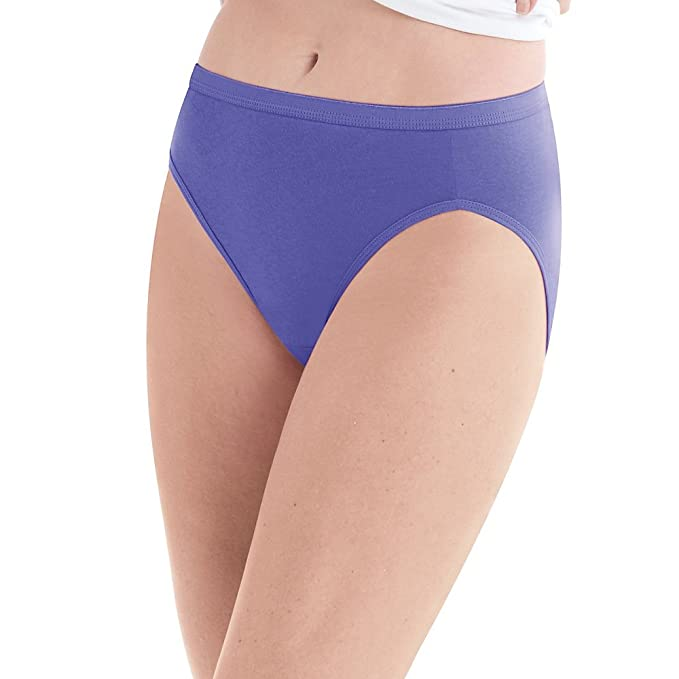 a2e104787d6f Hanes Cool Comfort153 Women's Cotton Hi-Cut Panties 6-Pack at Amazon Women's  Clothing store:
