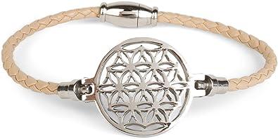 styleBREAKER geflochtenes Armband mit Blume des Lebens Anhänger und  Magnetverschluss, Flechtarmband, Schmuck, Damen 9de2862cb0