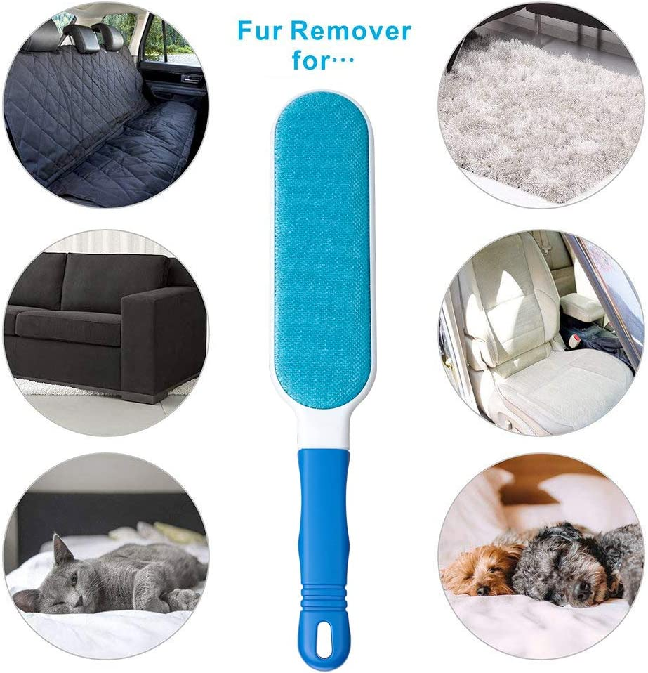 Lint Brush - Pet Hair Remover Brush - Dog & Cat Hair Remover with Self-Cleaning Base - Efficient Double Sided Animal Hair Removal Tool - Perfect for Clothing, Furniture, Couch, Carpet