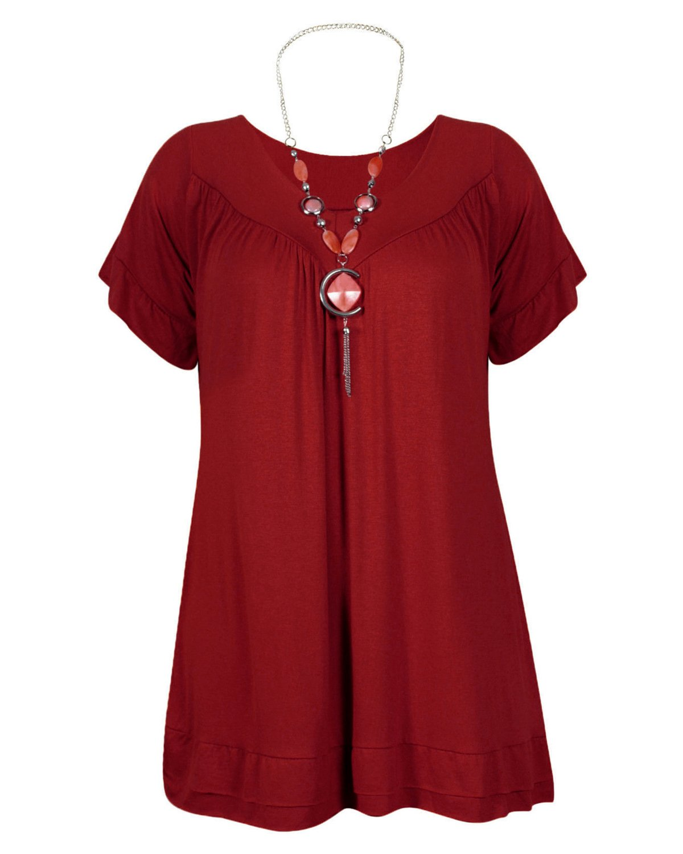 Urban Diva Vanilla Inc Womens Ladies Plus Size Frill Necklace Gypsy Ladies Tunic Short Sleeve Long V Neck Tops (12-30)