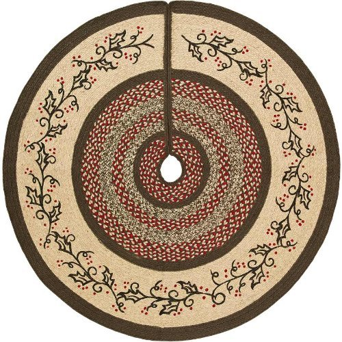 VHC Brands Holly Berry Jute Stencil Mini Tree Skirt