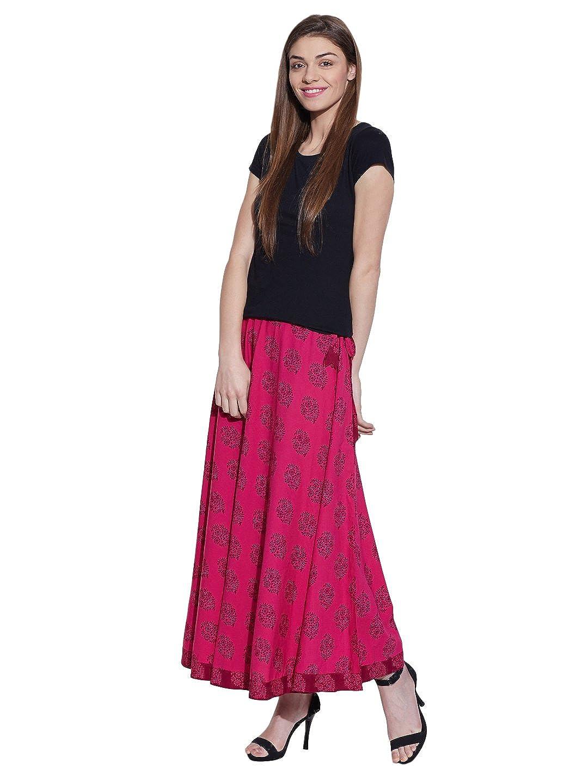 e8f74100201 Long Boho Floral Maxi Skirt