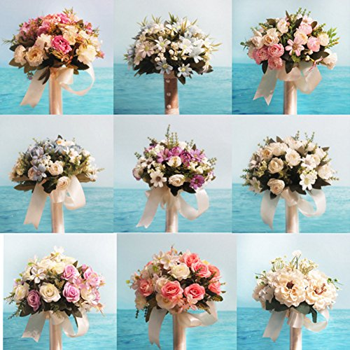 Stylish Wedding Flowers Bouquet Peony Romantic Bride Bridesmaid Bouquet Holding Artificial Silk Flowers With Lace Home Wedding Decoration Multi-color