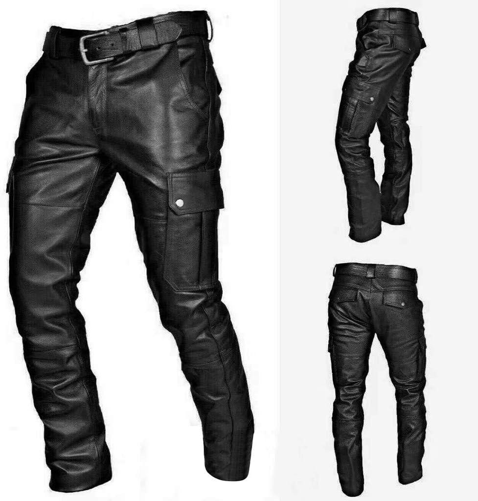Fashion Mens PU Leather Fit Colorful Pants Slack Trousers Luxury Stylish Slim