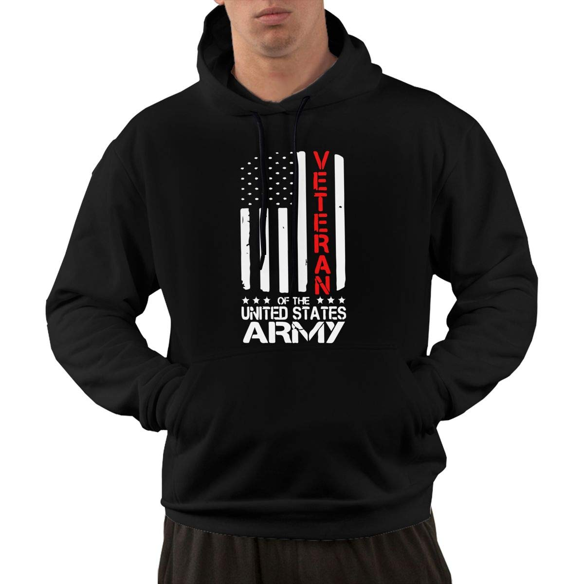 Army Veterans Red Line Men Hoodie CasualTops with Kanga Pocket U.S