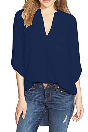 Camiseta De Manga 3/4 Para Mujer Camisetas Tops Blusa Casual Camiseta De Trabajo Navy