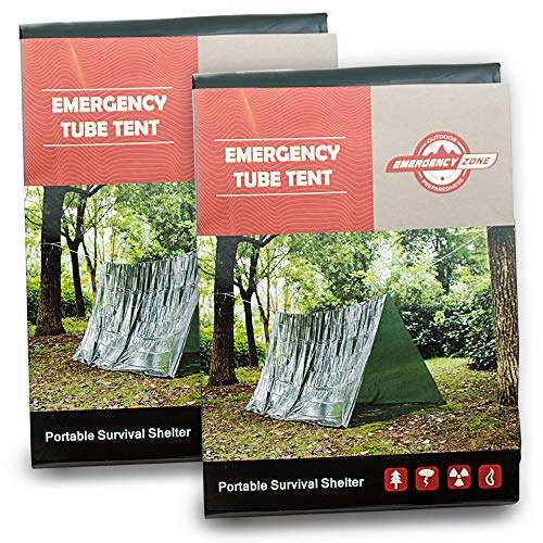 Reflective Tube Tent - Emergency Zone Reflective & Green Survival 2 Person Tube Tents. Available in 1, 2, 3, 48 Packs. (Green, 2)
