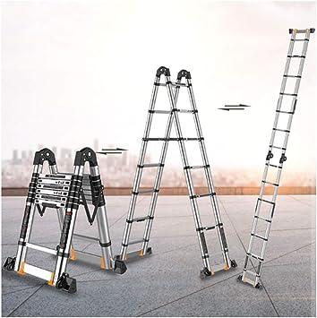 XIA Multifuncional Escalera, bricolaje aleación de aluminio plegable Shrink Proyecto de escalera telescópica Inicio ahorro de espacio (Size : 2.9+2.9=5.8m straight ladder): Amazon.es: Bricolaje y herramientas