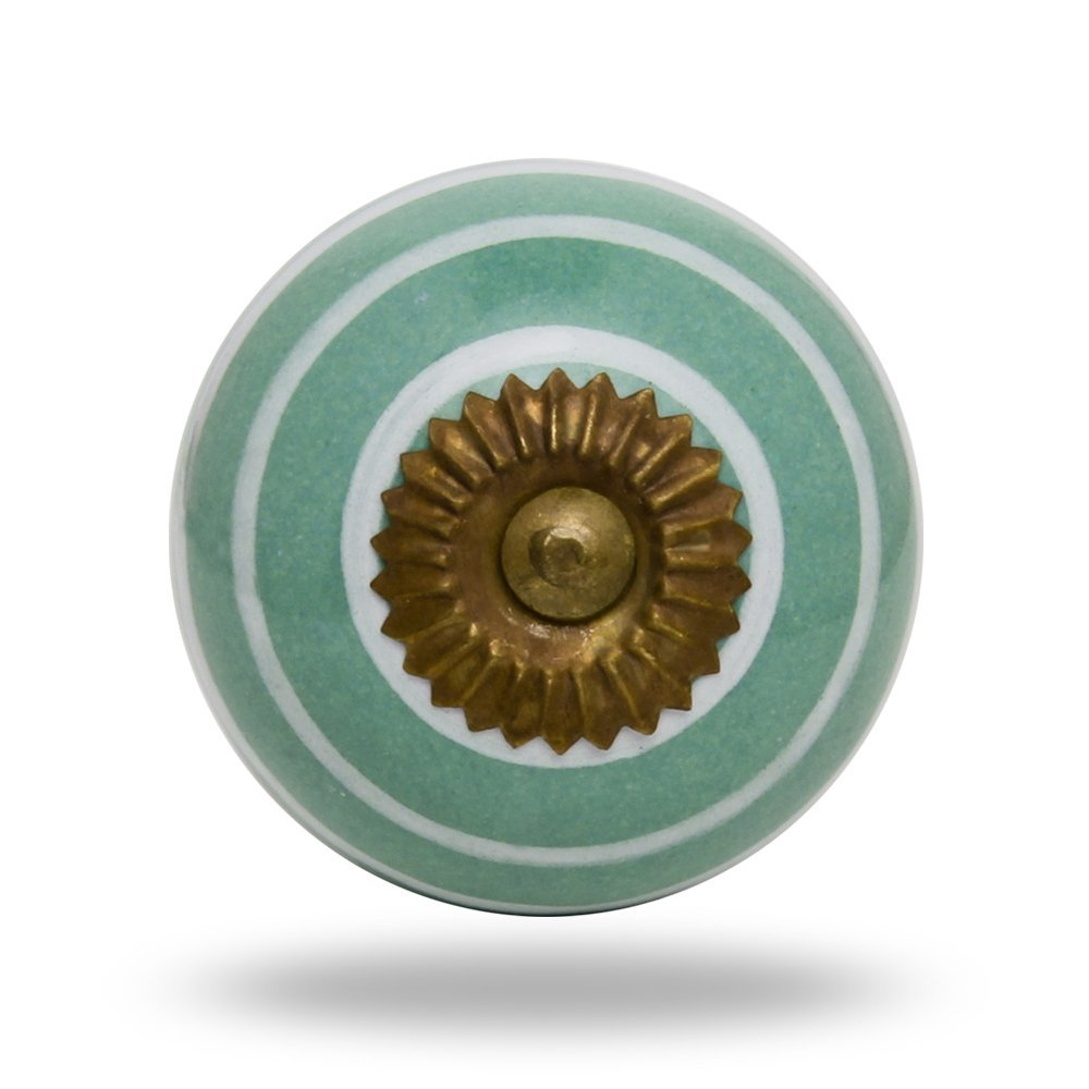 Ceramic Round Silver Circles on White Chrome Finish Drawer Knob Cabinet Cupboard Pull by Trinca-Ferro (blue)