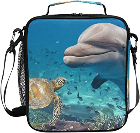 Joyprint Lunch Box Bag Ocean Sea Animal Turtle Dolphin Lunchbox Insulated Thermal Cooler Ice Adjustable Shoulder Strap For Women Men Boys Girls Kitchen Dining