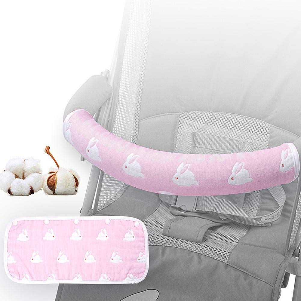 Luerme Universal Armrests Cover Protector for Baby Stroller Pram, Baby Stroller Armrests Cover Cotton Gauze Biting Bib Fence for Baby Biting Teething
