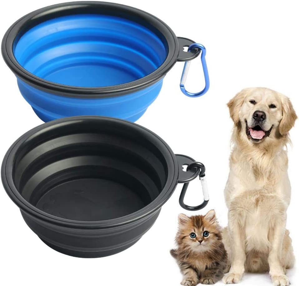 2 Pack Collapsible Dog Bowls for Travel; Silicone Food / Water Bowls for Dog, Cat; Portable, Foldable, Expandable Pet Feeding Watering Dish for Travel, Indoors and Outdoors with 2 Carabiners