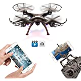 FengLan Remote Control Mode 4 Channel 2.4G 6-Axis Gyro RC Headless Quadcopter X5SW-1 Drone UAV with 2MP HD Wifi Camera (FPV) for Real Time Video Transmission (Black)