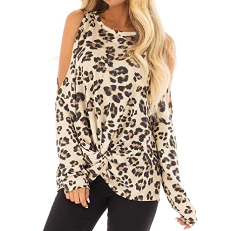 9d5fd6246c5cd Amazon.com  Sunshinehomely Women Sexy Top Off Shoulder Leopard Print Casual  O-Neck Shirt Fashion Long Sleeve Blouse (S