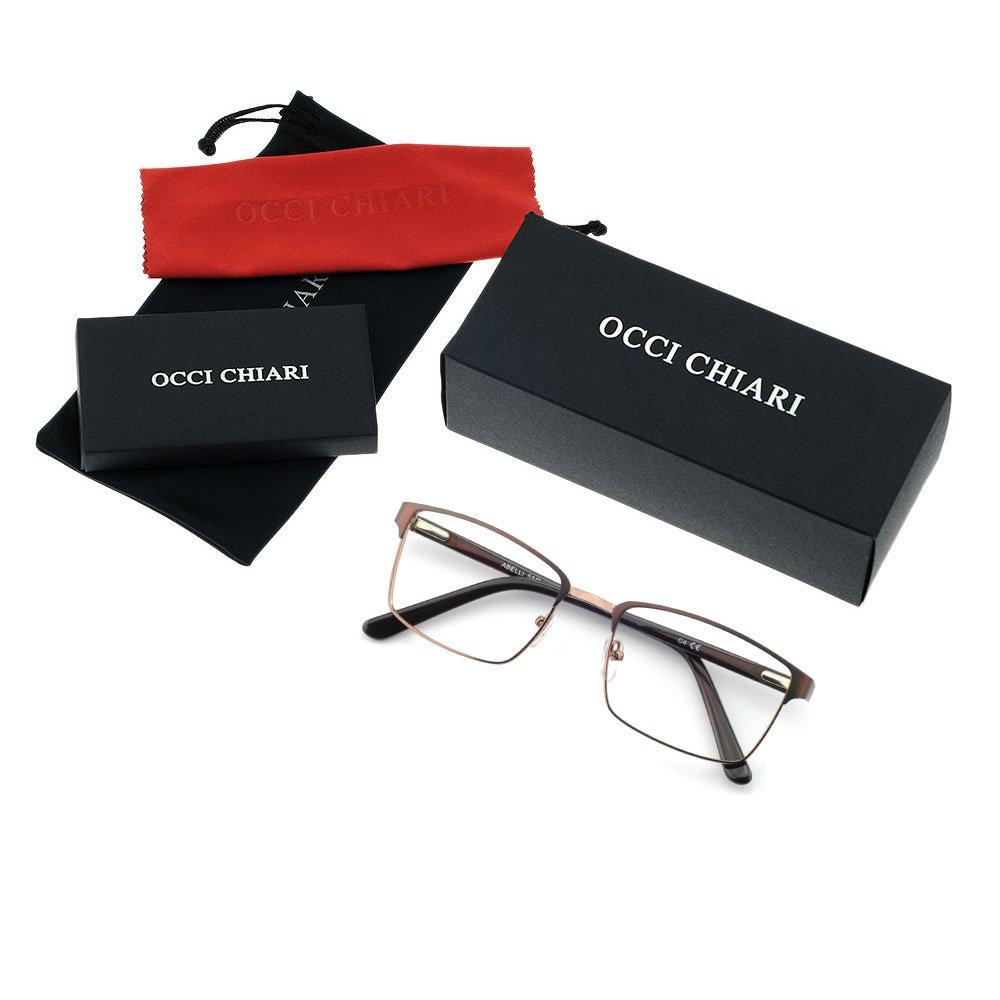 OCCI CHIARI Men Fashion Metal Full-Rim Optical Eyewear Frames With Clear Lenses