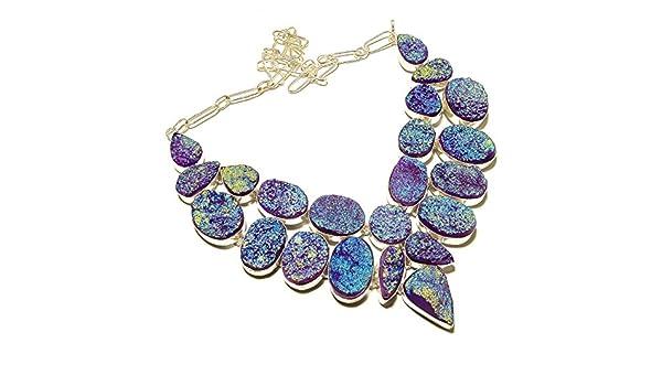 Purple Sparking Titanium Druzy Silver Overlay 131 Gram Necklace 17-18 Stunning