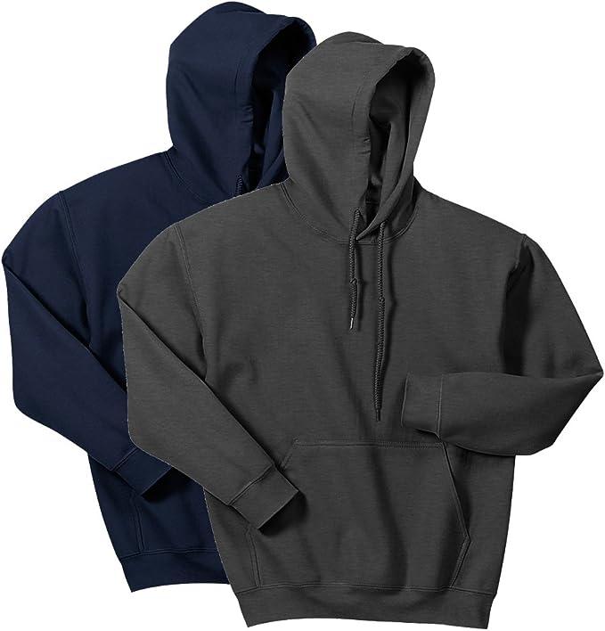 Gildan G185 Heavy Blend Adult Hooded Sweatshirt (Medium, 1 Navy + 1 Dark Heather)