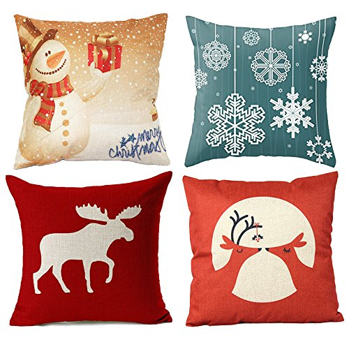 Wonder4 Decorative Sofa Pillow Cases, 4 Pack Christmas Decor