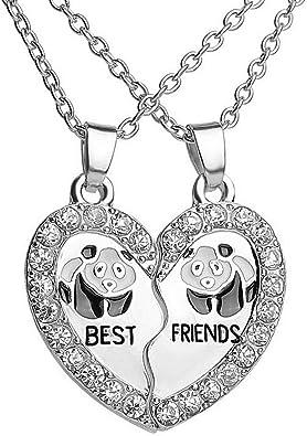 Collares De Dos Mejores Amigas Para Mujeres Amistad Mejores Amigas Para 2 Corazon Corazon X 2 Bff Rotas Entrelazadas Panda Puntos De Luz Diamantes De Imitacion Plateado Amazon Es Joyeria