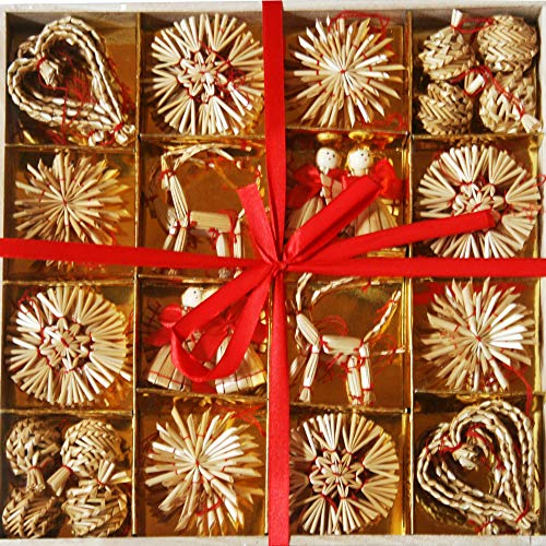 Straw Ornaments - Box of 56 Assorted