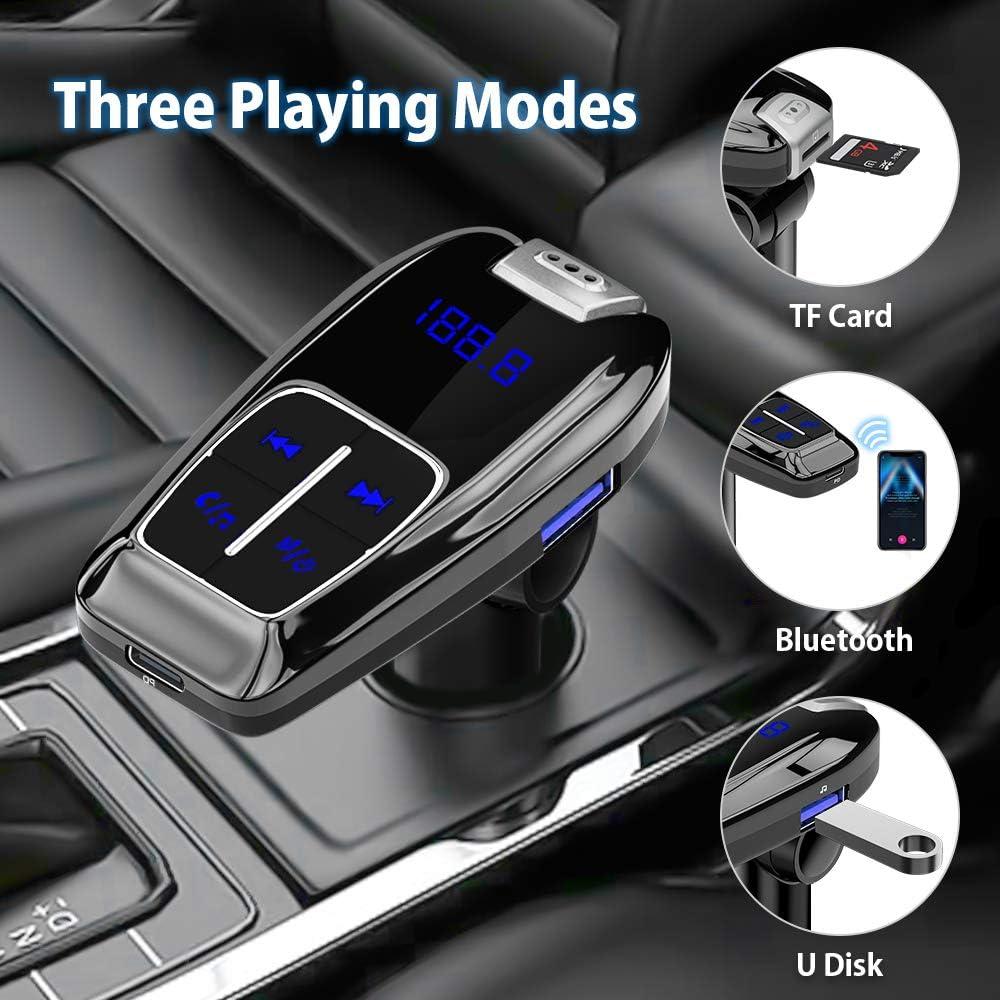 adaptador de radio de coche manos libres Kit cargador USB PD3.0 tipo C carga r/ápida pantalla LED soporte TF tarjeta U Disk A2DP Crystal Sound Luz azul SONRU Transmisor FM Bluetooth 5.0