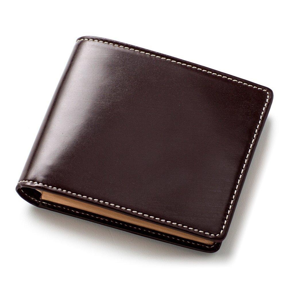 [ブリティッシュグリーン] ブライドルレザー 二つ折り財布 メンズ 本革 NEWモデル B06XFNF9Y4 03.バーガンディ 03.バーガンディ