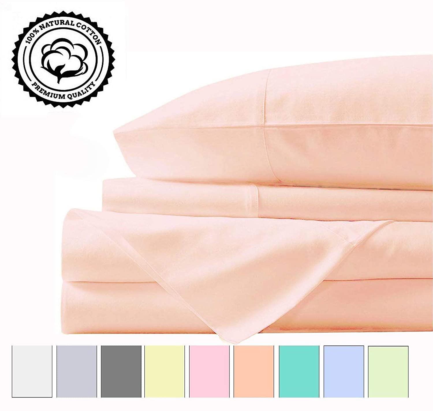 LINENWALAS 100% Cotton Bed Sheet - 800 Thread Count Deep Pocket 4 Piece Sheets | Silk Like Soft, Hypoallergenic, Breathable & Cooling Sateen | Hotel Luxury Bedsheets Deal (King, Peach)