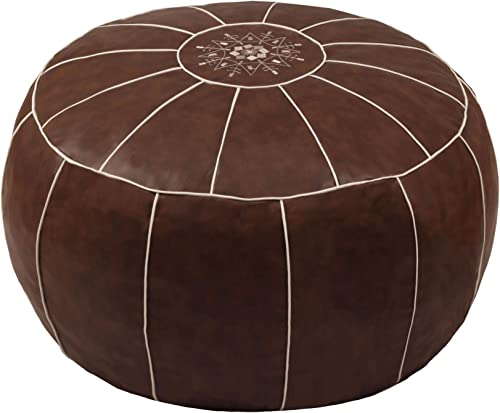 ZEFEN Decorative Pouf Foot Stool Round Unstuffed Leather Ottoman Cushion Storage seat or
