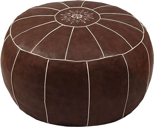 ZEFEN Decorative Pouf Foot Stool Round Unstuffed Leather Ottoman Cushion Storage seat or