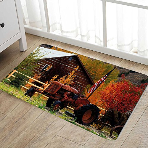 Fall Door Mat outside Rustic Cabin with Rusty Tractor Countr