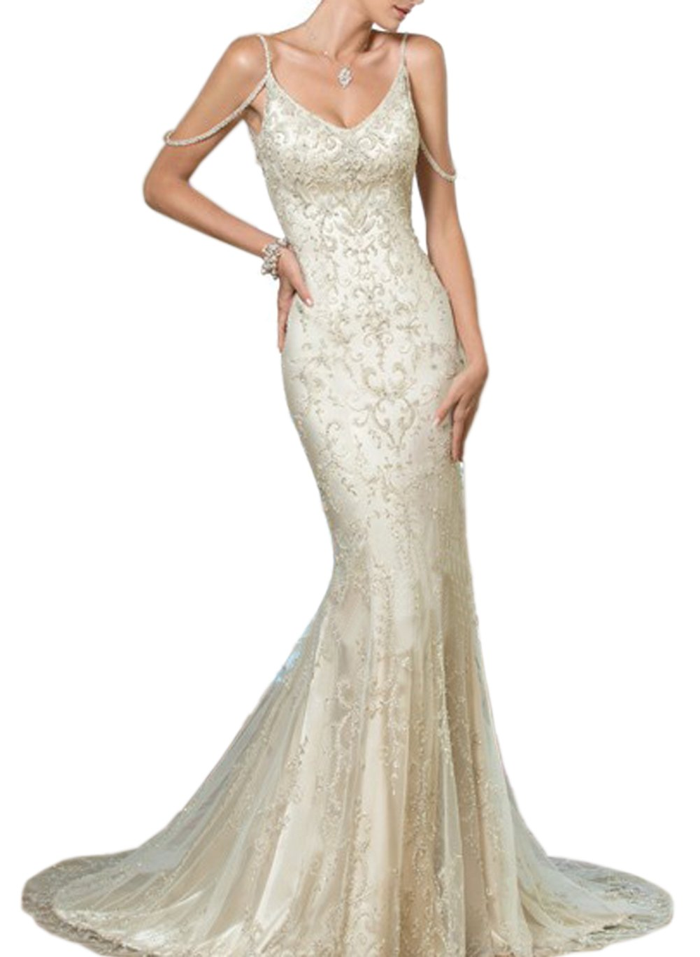 Sayadress Women's Backless Embroidery Long Mermaid Wedding Dress with Cold Shoulder Ivory US6