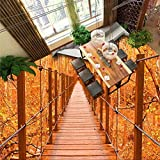 Mznm Wooden Bridge Autumn Trees Bathroom 3D Floor Customized Large Mural PVC Environmental Resistant Wearable-120X100Cm
