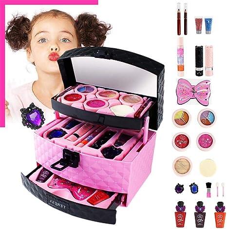 Juguete de maquillaje para niños, juguete cosmético falso para niñas, juguete de princesa para casa, juegos para niñas grandes, no maquillaje real con caja de espejos: Amazon.es: Bebé