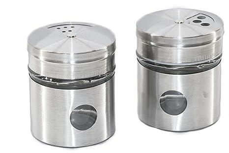 RMB® 2 Unidades de Especias Salero – Salero y pimentero de pimientos Chili etc. de Acero Inoxidable y Cristal