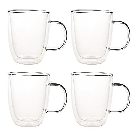 Amazoncom Set Of 4 Double Walled Glass Coffee Mugs Double