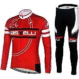 サイクルジャージ メンズ 長袖 裏起毛選択可 秋冬 上下セット サイクルウェア ロードバイクウエア 自転車 通気 LG224