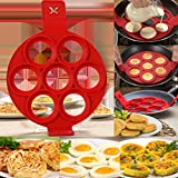 Styleys 7 Round Silicone Pancake Mold Egg Ring - Nonstick Flipper Silicone Maker Moulds for Egg muffins, Pancakes,Omelettes,Fried or Poached Eggs, Burgers and More