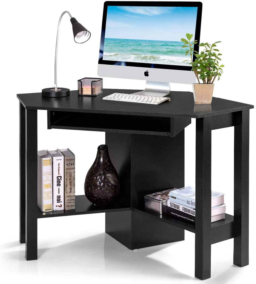 Tangkula Corner Desk, Corner Computer Desk, Wood Compact Home Office Desk,  Laptop PC Table Writing Study Table, Workstation with Smooth Keyboard Tray