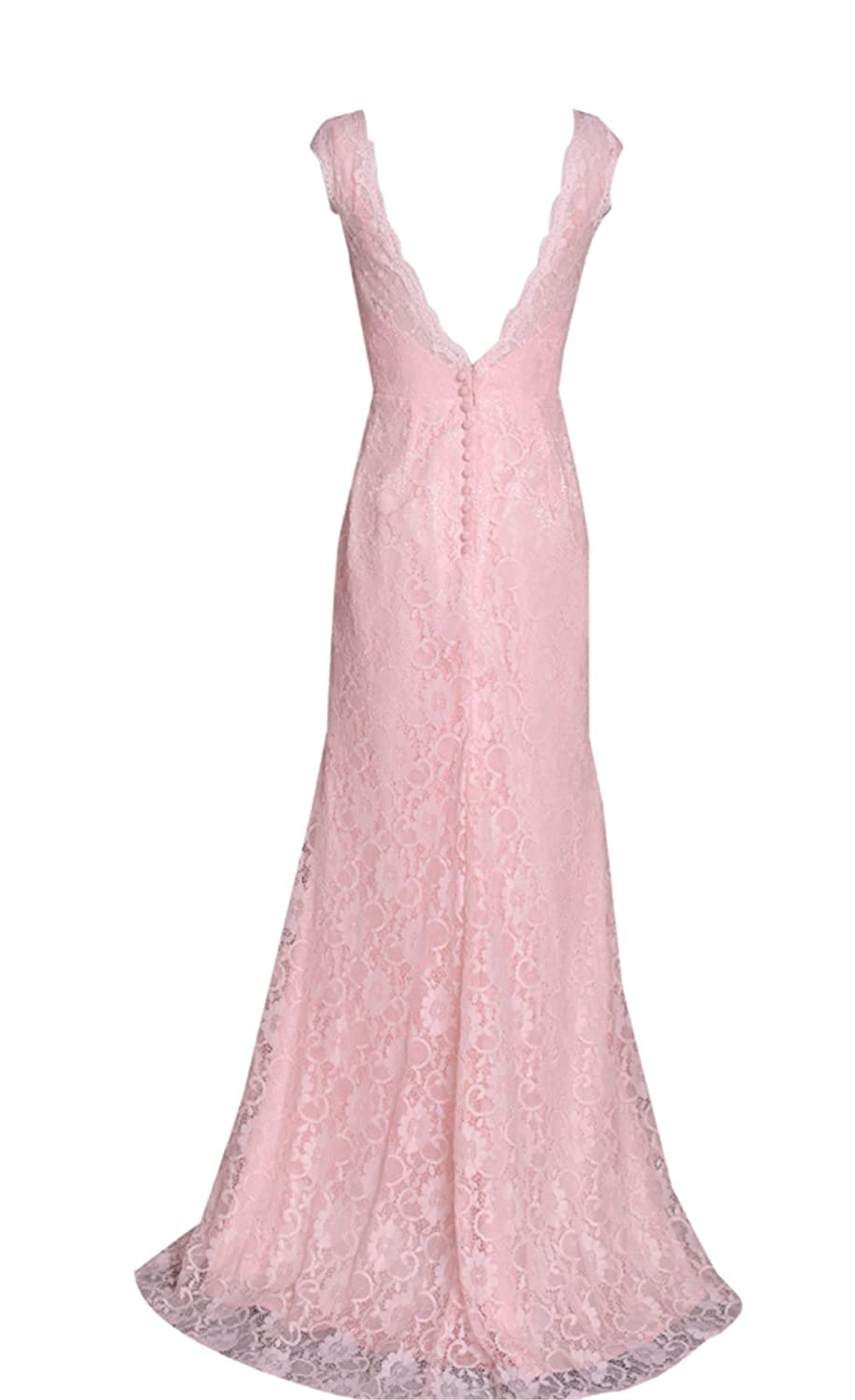 AngelDragon A-Line Lace Floor Length Evening Gowns Long Prom Dress