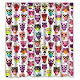 Custom Owl green purple Blue Orange Pink Cartoon Colorful Shower Curtain 100% Polyester Fabric Waterproof Size 66x72inch